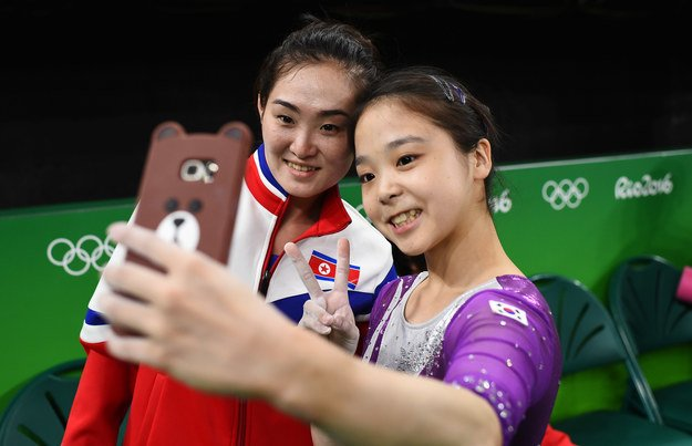 This powerful selfie taken by two gymnasts, one North Korean and one South Korean, at the Rio Olympics.